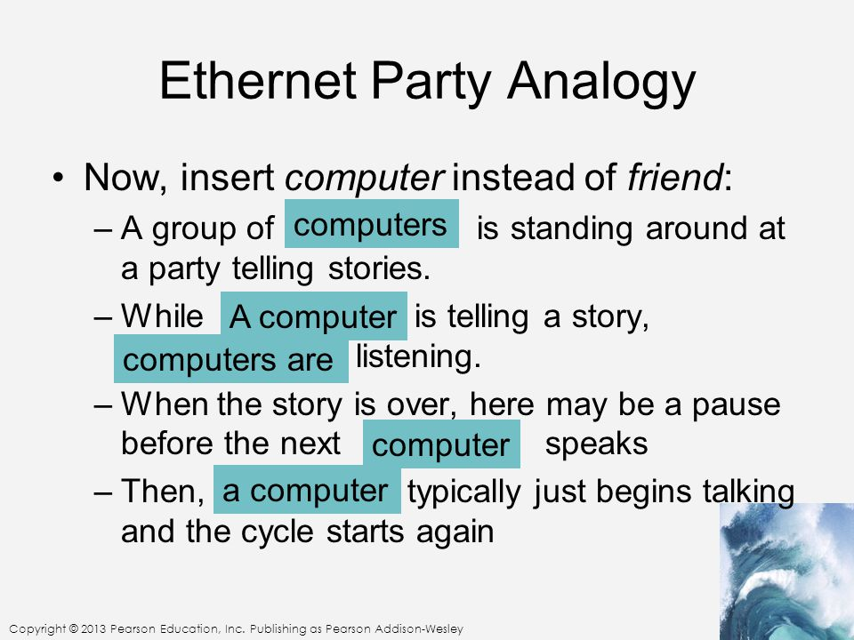 Copyright © 2013 Pearson Education, Inc. Publishing as Pearson Addison-Wesley Ethernet Party Analogy Now, insert computer instead of friend: –A group