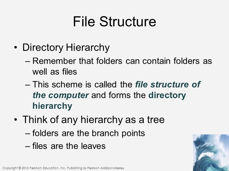 Copyright © 2013 Pearson Education, Inc. Publishing as Pearson Addison-Wesley File Structure Directory Hierarchy –Remember that folders can contain fo