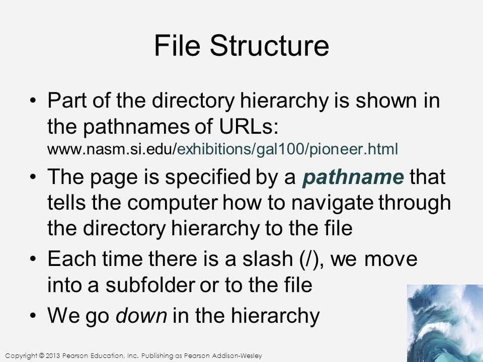 File Structure Part of the directory hierarchy is shown in the pathnames of URLs: www.nasm.si.edu/exhibitions/gal100/pioneer.html The page is specifie
