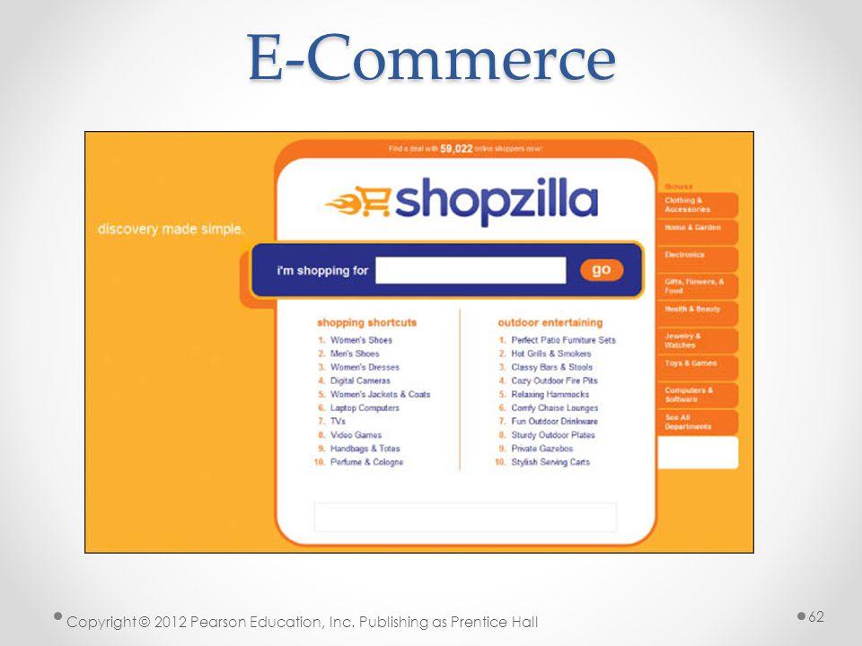 E-Commerce Copyright © 2012 Pearson Education, Inc. Publishing as Prentice Hall 62