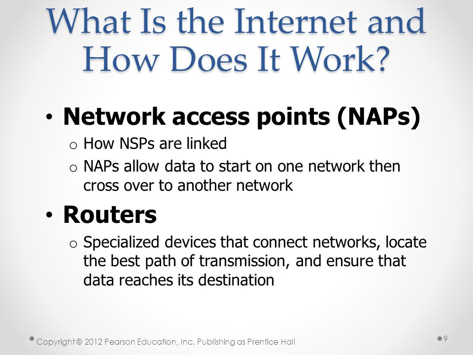 What Is the Internet and How Does It Work? Network access points (NAPs) o How NSPs are linked o NAPs allow data to start on one network then cross ove