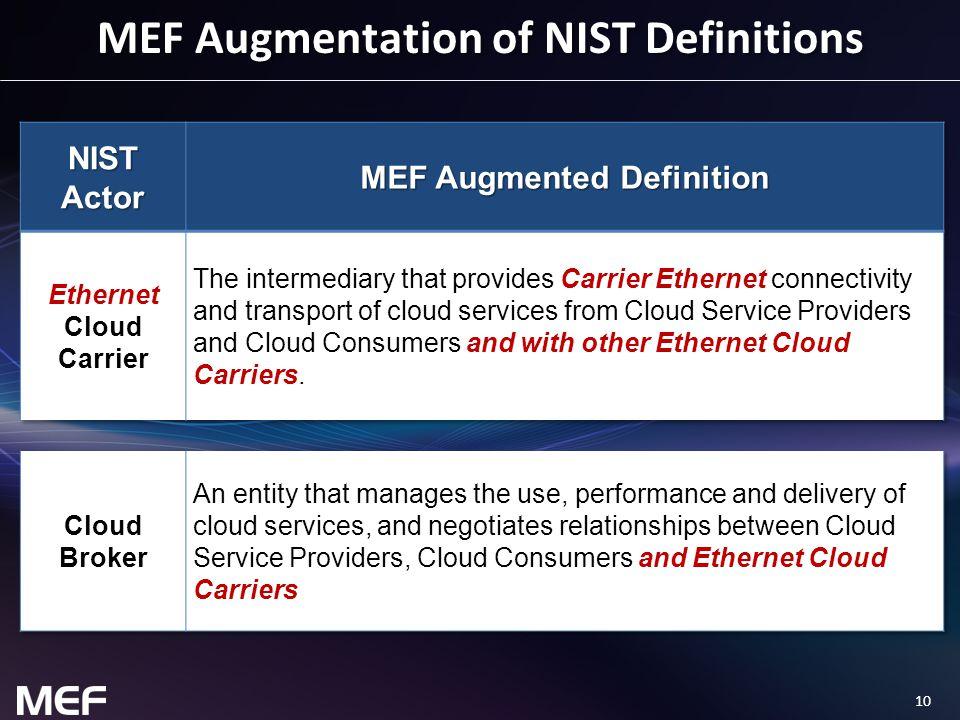 10 MEF Augmentation of NIST Definitions