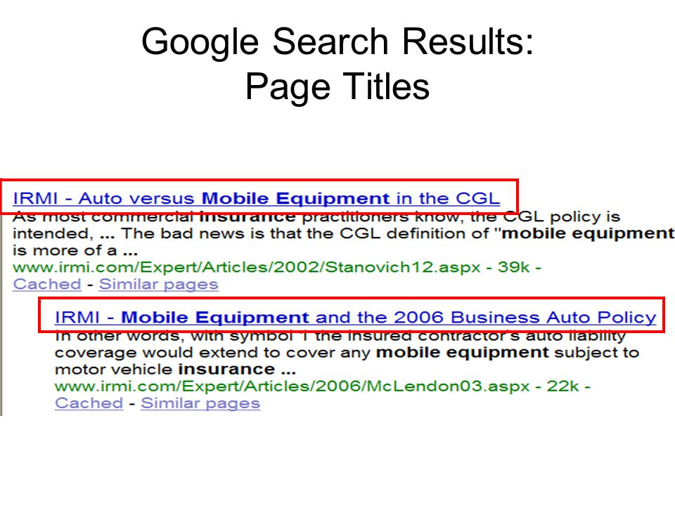 Google Search Results: Page Titles