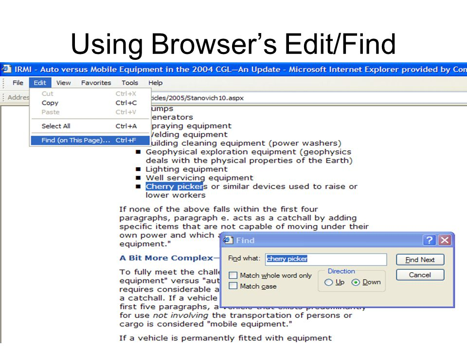 Using Browsers Edit/Find