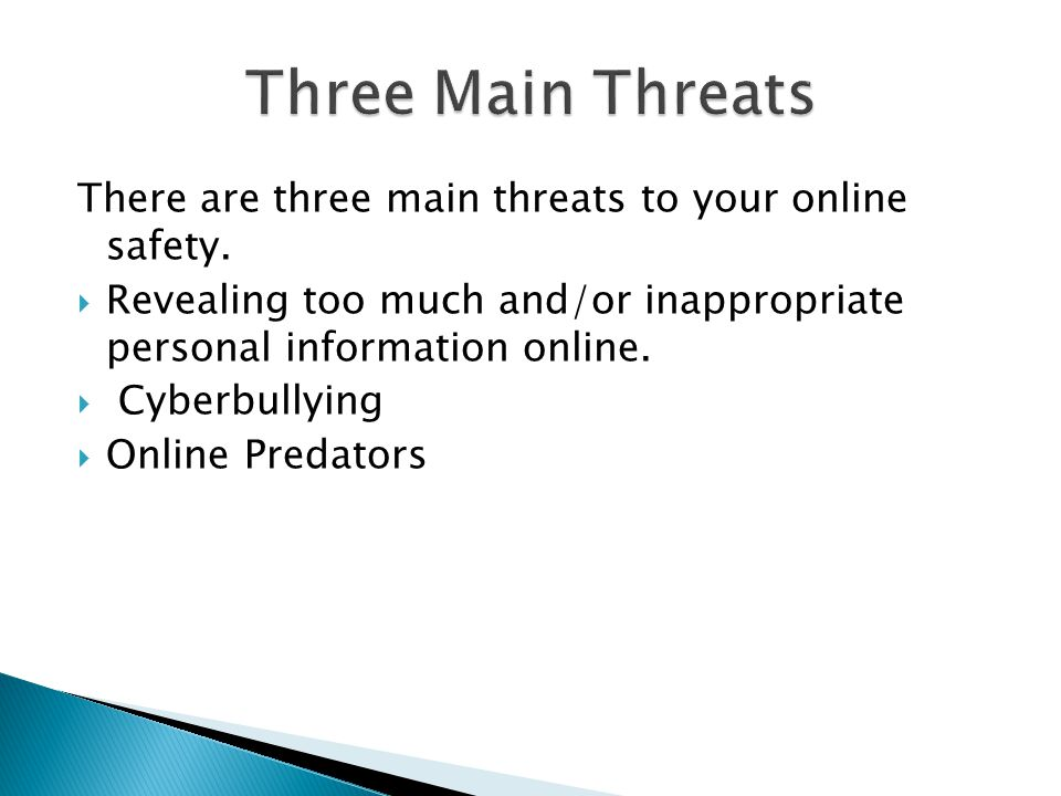 There are three main threats to your online safety.
