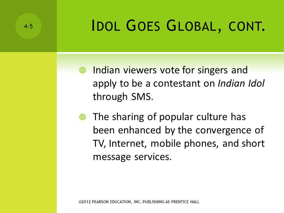 ©2012 PEARSON EDUCATION, INC. PUBLISHING AS PRENTICE HALL 4-5 I DOL G OES G LOBAL, CONT. Indian viewers vote for singers and apply to be a contestant
