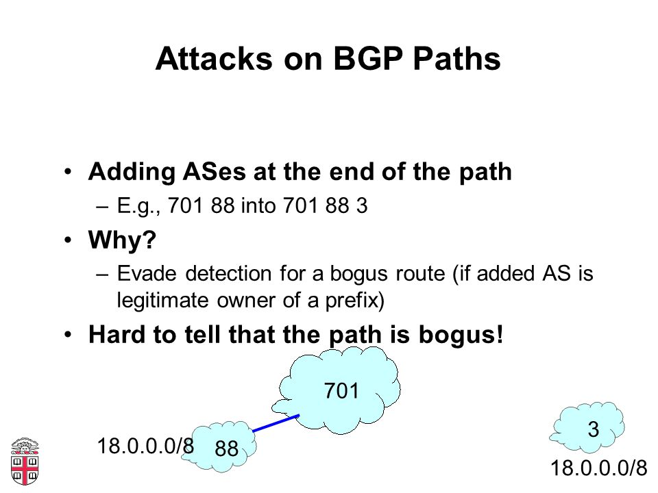 Attacks on BGP Paths Adding ASes at the end of the path –E.g., 701 88 into 701 88 3 Why.