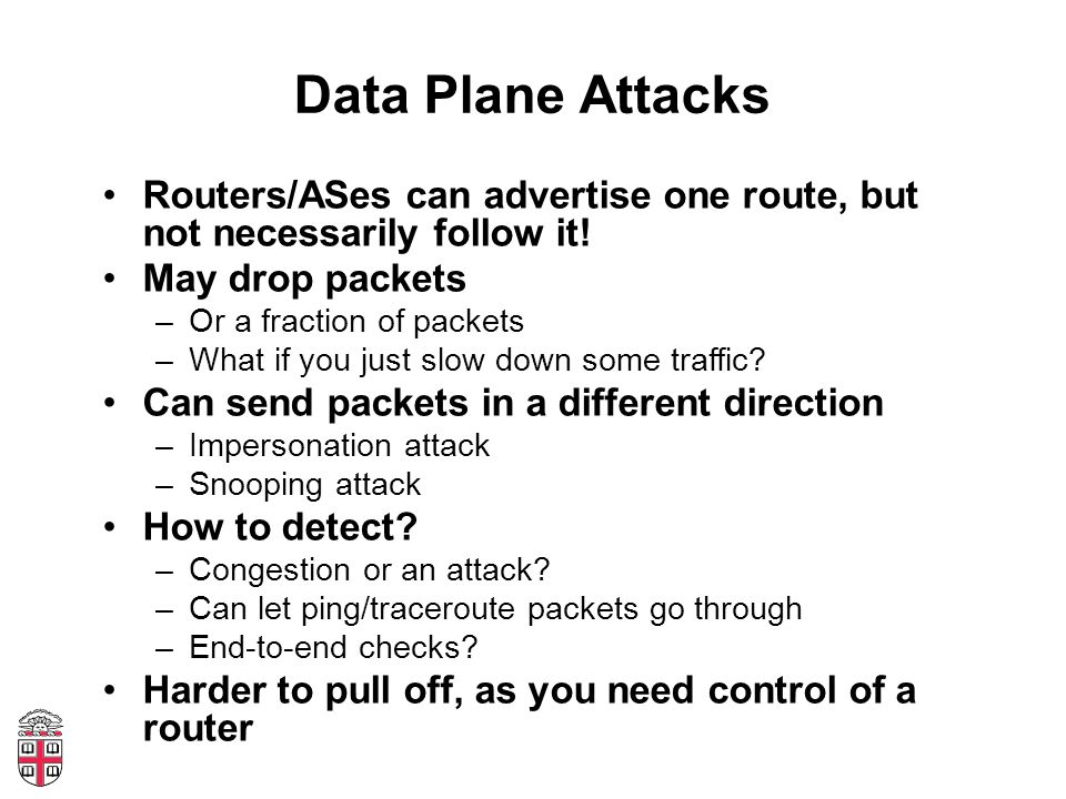 Data Plane Attacks Routers/ASes can advertise one route, but not necessarily follow it.