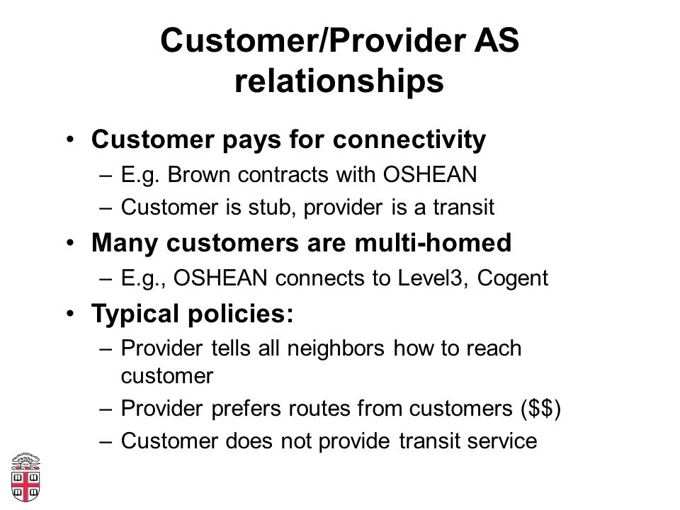 Customer/Provider AS relationships Customer pays for connectivity –E.g.