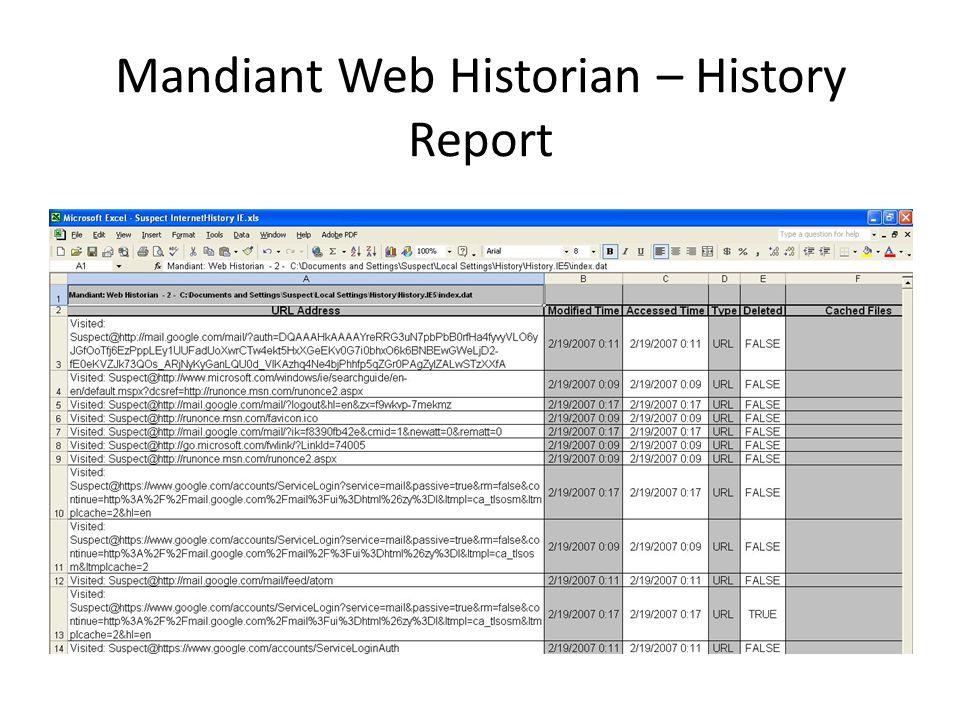 Mandiant Web Historian – History Report