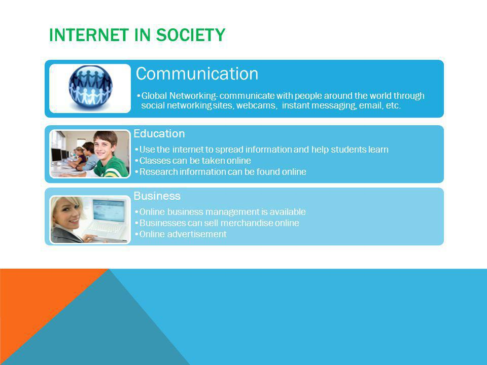 INTERNET IN SOCIETY Communication Global Networking- communicate with people around the world through social networking sites, webcams, instant messag