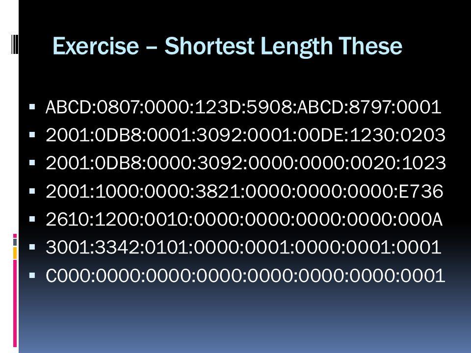 Exercise – Shortest Length These ABCD:0807:0000:123D:5908:ABCD:8797:0001 2001:0DB8:0001:3092:0001:00DE:1230:0203 2001:0DB8:0000:3092:0000:0000:0020:10