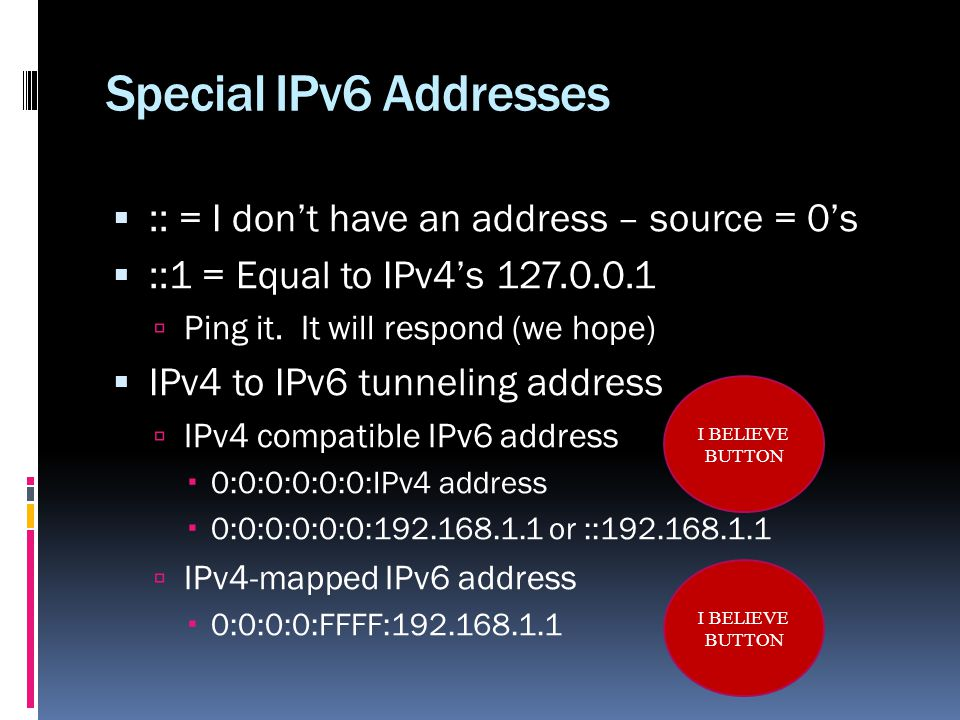 Special IPv6 Addresses :: = I dont have an address – source = 0s ::1 = Equal to IPv4s 127.0.0.1 Ping it.