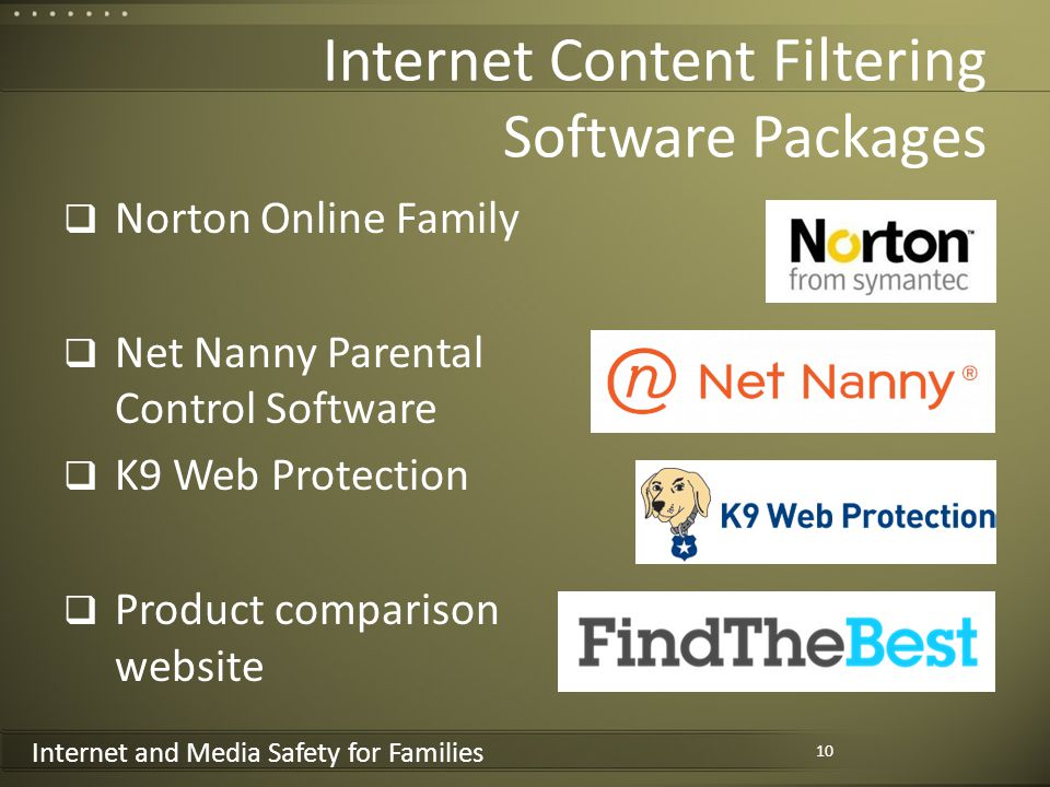 Internet and Media Safety for Families Internet Content Filtering Software Packages Norton Online Family Net Nanny Parental Control Software K9 Web Protection Product comparison website 10