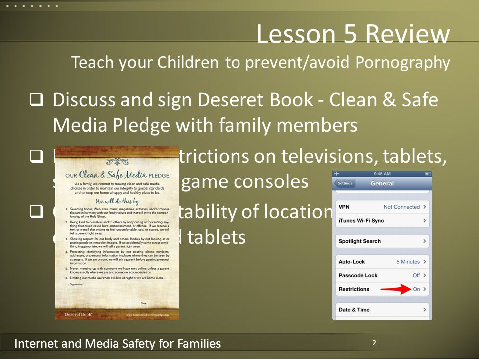 Internet and Media Safety for Families Internet and Media Safety for Families 7-Lesson Sunday School Class 1.