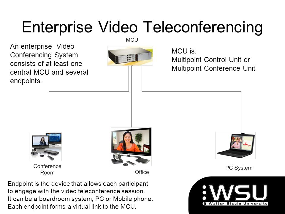 Enterprise Video Teleconferencing MCU is: Multipoint Control Unit or Multipoint Conference Unit An enterprise Video Conferencing System consists of at
