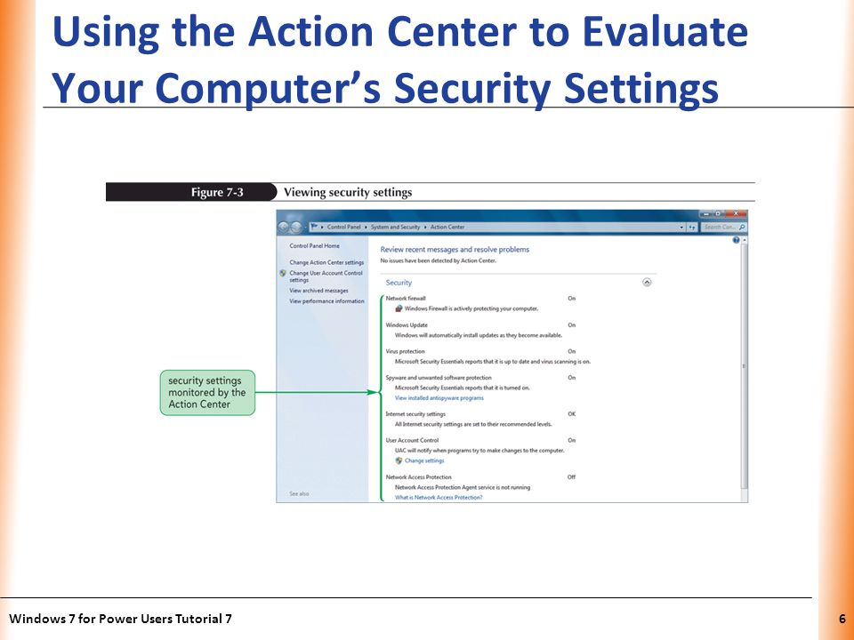 XP Using the Action Center to Evaluate Your Computers Security Settings Windows 7 for Power Users Tutorial 76