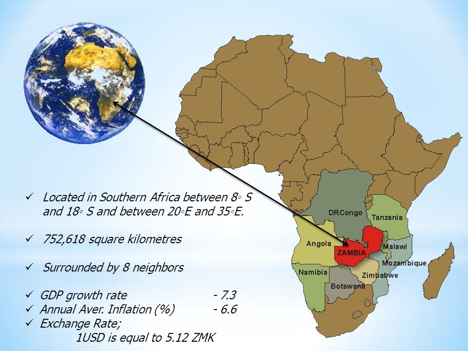 Located in Southern Africa between 8 S and 18 S and between 20E and 35E.
