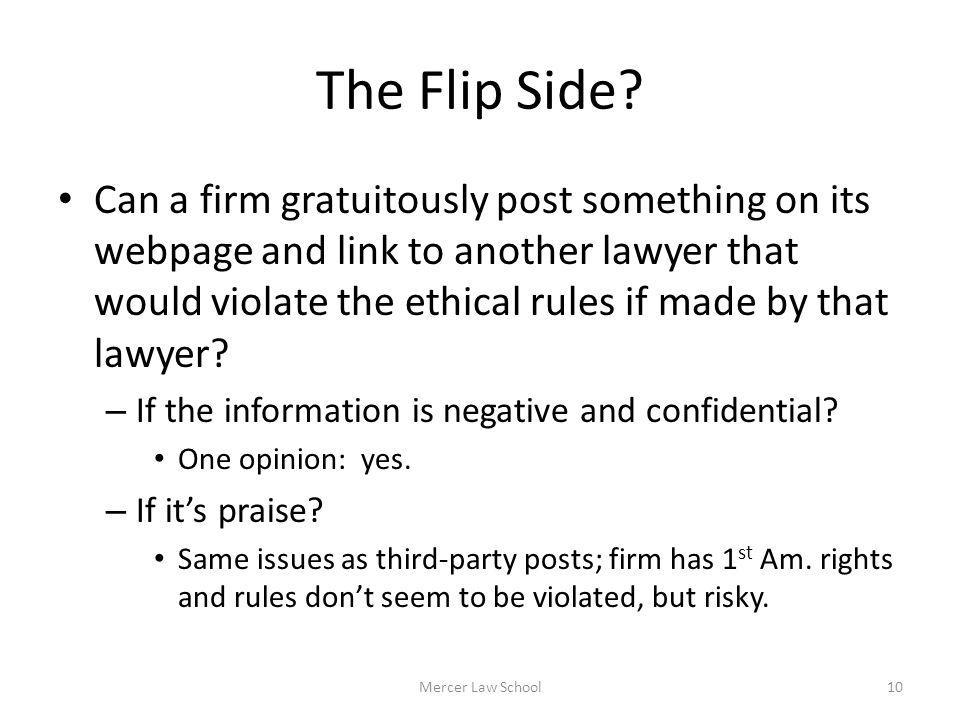 The Flip Side? Can a firm gratuitously post something on its webpage and link to another lawyer that would violate the ethical rules if made by that l