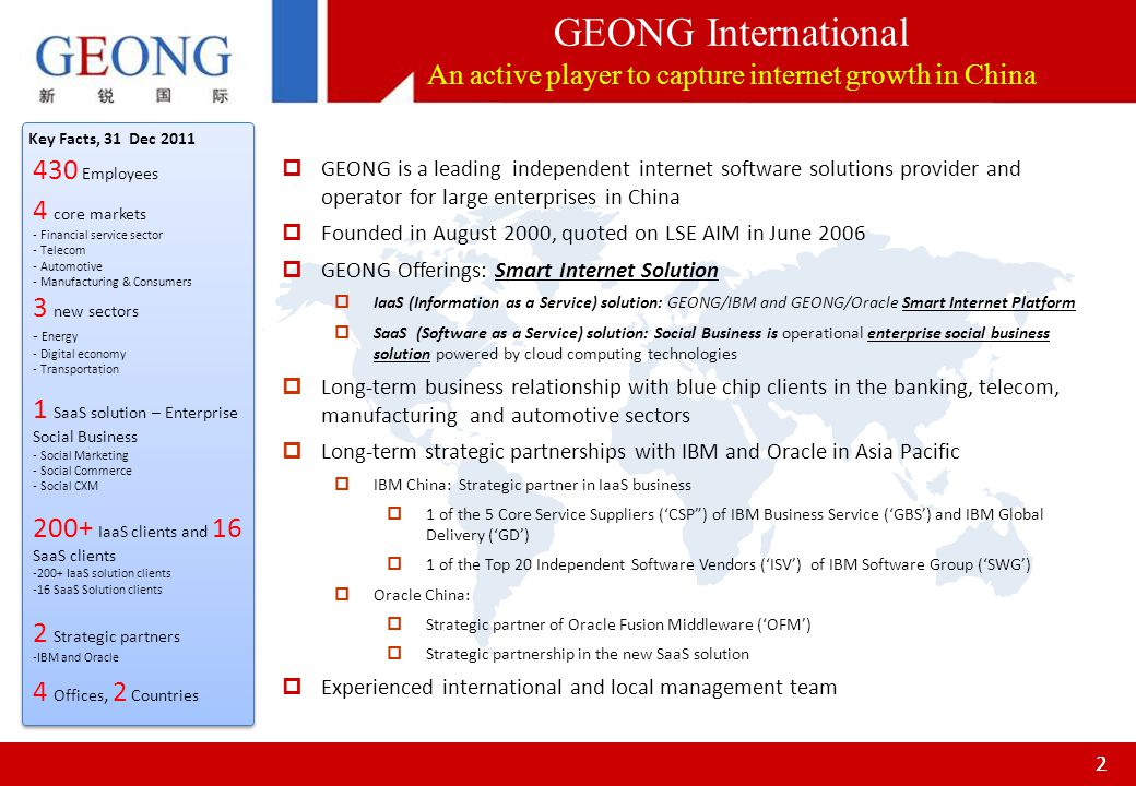22 GEONG is a leading independent internet software solutions provider and operator for large enterprises in China Founded in August 2000, quoted on L