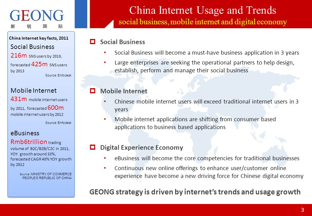 33 China Internet key facts, 2011 Social Business 216m SNS users by 2010, forecasted 425m SNS users by 2013 Source: Enfodesk Mobile Internet 431m mobi