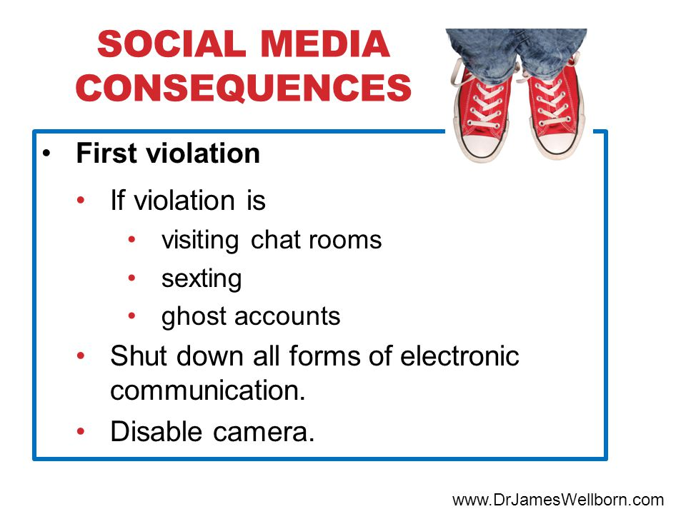 SOCIAL MEDIA CONSEQUENCES www.DrJamesWellborn.com First violation If violation is visiting chat rooms sexting ghost accounts Shut down all forms of electronic communication.