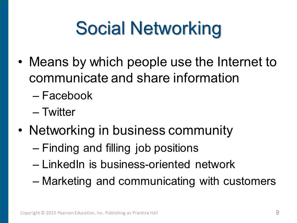 Social Networking Means by which people use the Internet to communicate and share information –Facebook –Twitter Networking in business community –Fin