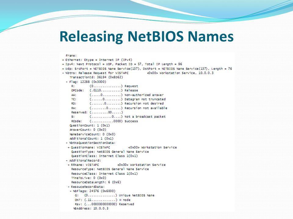 Releasing NetBIOS Names