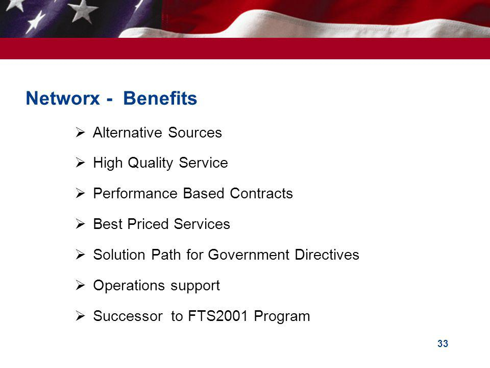33 Networx - Benefits Alternative Sources High Quality Service Performance Based Contracts Best Priced Services Solution Path for Government Directives Operations support Successor to FTS2001 Program