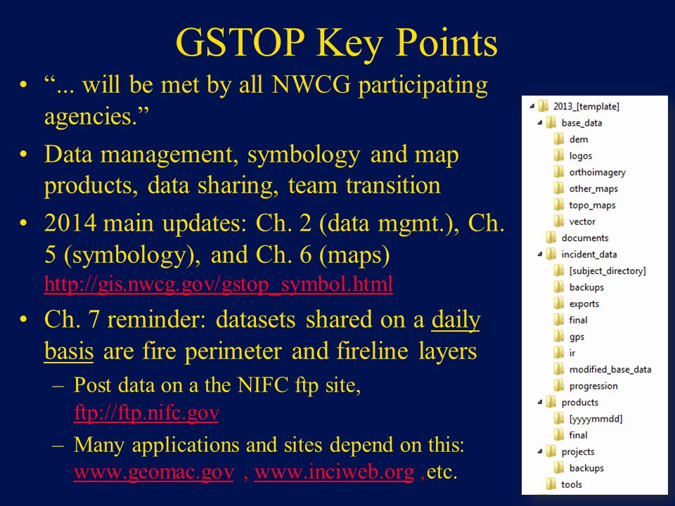 GSTOP Key Points... will be met by all NWCG participating agencies. Data management, symbology and map products, data sharing, team transition 2014 ma
