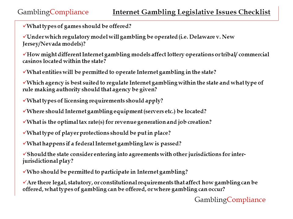 GamblingCompliance What types of games should be offered.