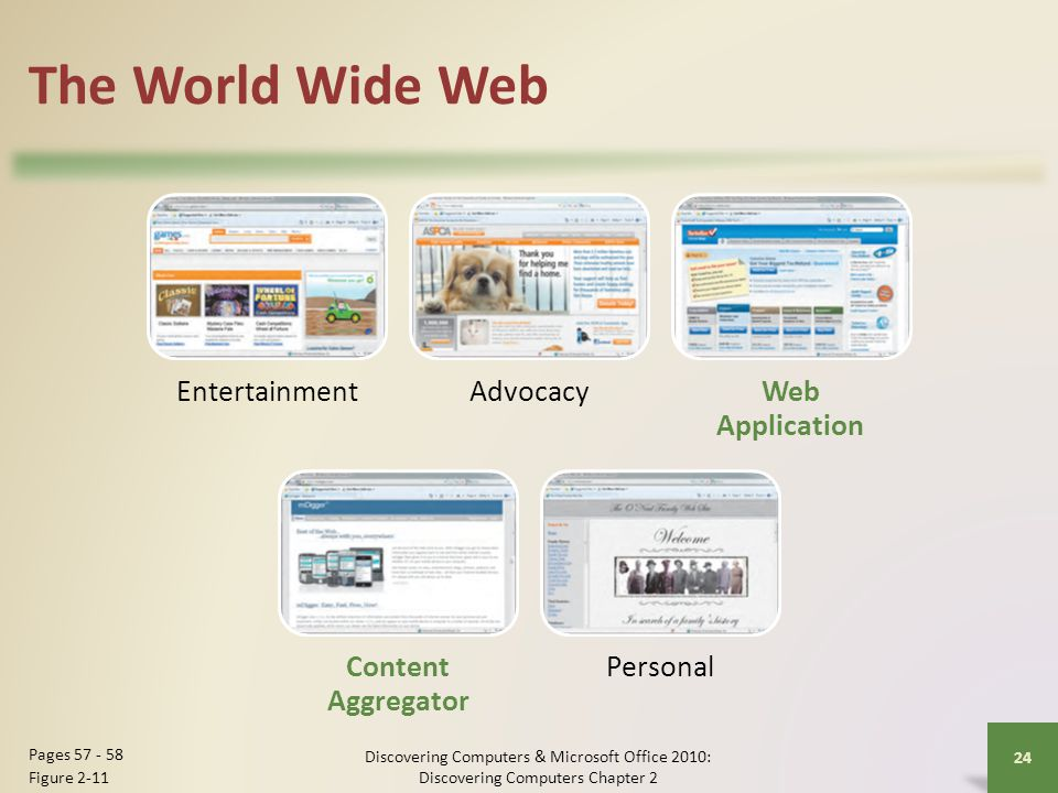 The World Wide Web EntertainmentAdvocacyWeb Application Content Aggregator Personal Discovering Computers & Microsoft Office 2010: Discovering Compute
