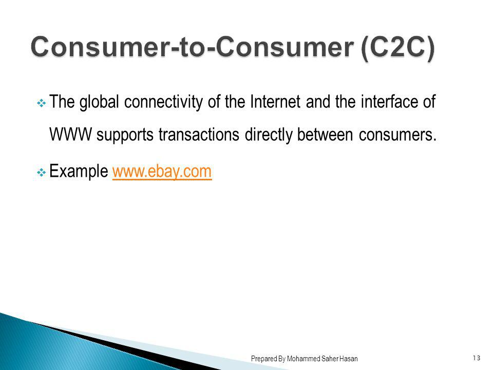 The global connectivity of the Internet and the interface of WWW supports transactions directly between consumers. Example www.ebay.comwww.ebay.com 13