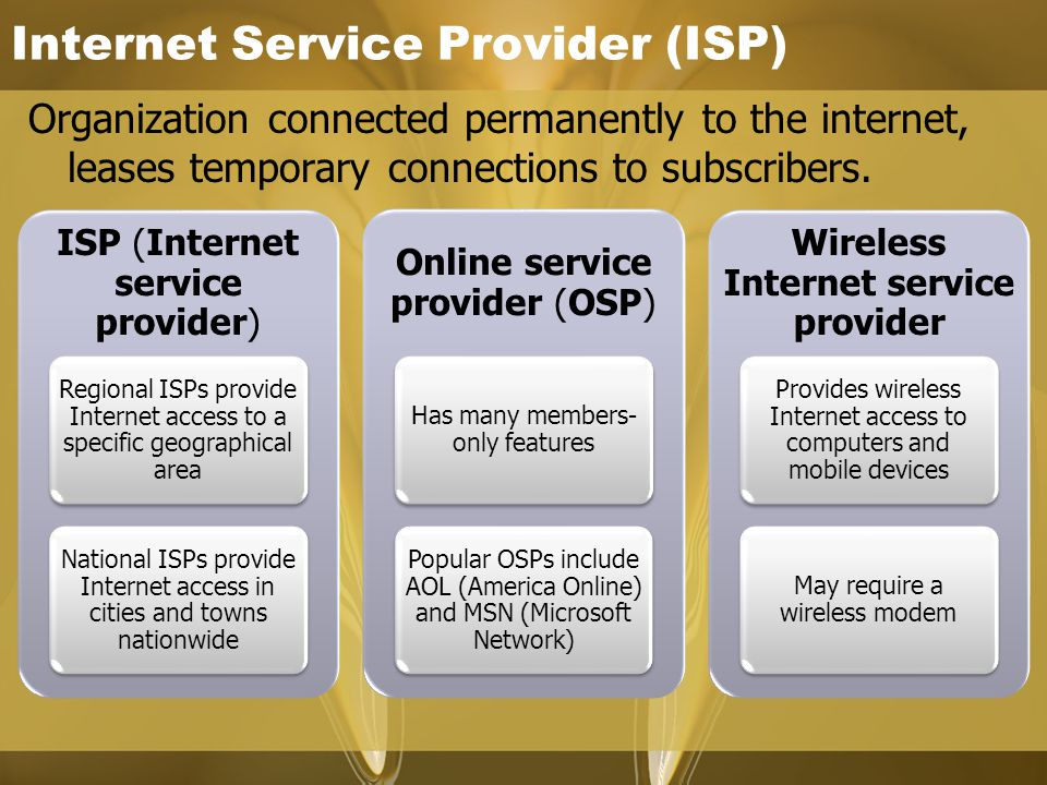 Internet Service Provider (ISP) Organization connected permanently to the internet, leases temporary connections to subscribers.