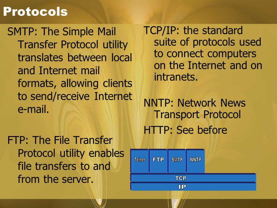 Protocols SMTP: The Simple Mail Transfer Protocol utility translates between local and Internet mail formats, allowing clients to send/receive Internet e-mail.