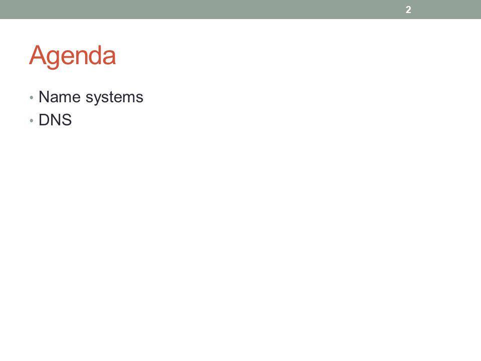 Agenda Name systems DNS 2