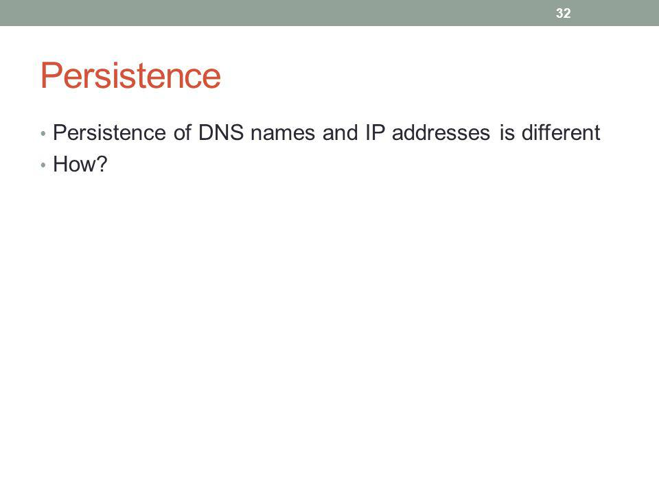 Persistence Persistence of DNS names and IP addresses is different How 32