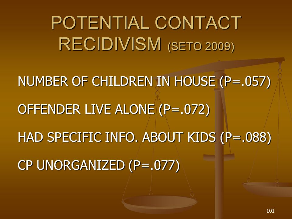 POTENTIAL CONTACT RECIDIVISM (SETO 2009) NUMBER OF CHILDREN IN HOUSE (P=.057) OFFENDER LIVE ALONE (P=.072) HAD SPECIFIC INFO.