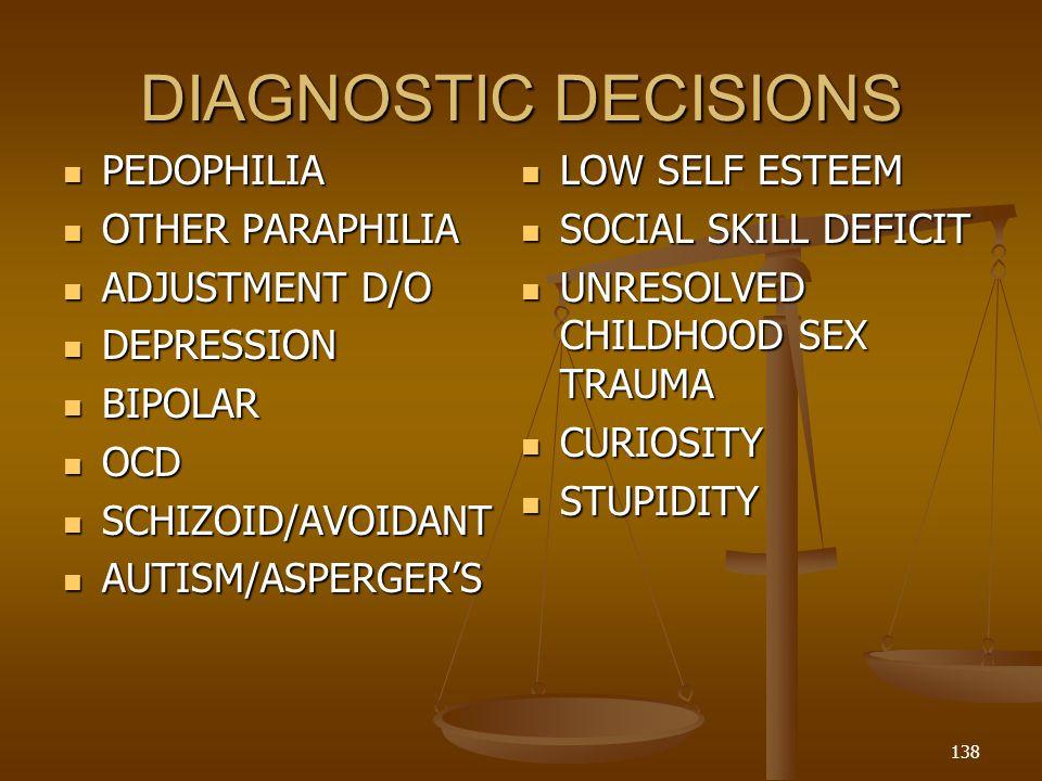 DIAGNOSTIC DECISIONS PEDOPHILIA PEDOPHILIA OTHER PARAPHILIA OTHER PARAPHILIA ADJUSTMENT D/O ADJUSTMENT D/O DEPRESSION DEPRESSION BIPOLAR BIPOLAR OCD OCD SCHIZOID/AVOIDANT SCHIZOID/AVOIDANT AUTISM/ASPERGERS AUTISM/ASPERGERS LOW SELF ESTEEM LOW SELF ESTEEM SOCIAL SKILL DEFICIT SOCIAL SKILL DEFICIT UNRESOLVED CHILDHOOD SEX TRAUMA UNRESOLVED CHILDHOOD SEX TRAUMA CURIOSITY CURIOSITY STUPIDITY STUPIDITY 138
