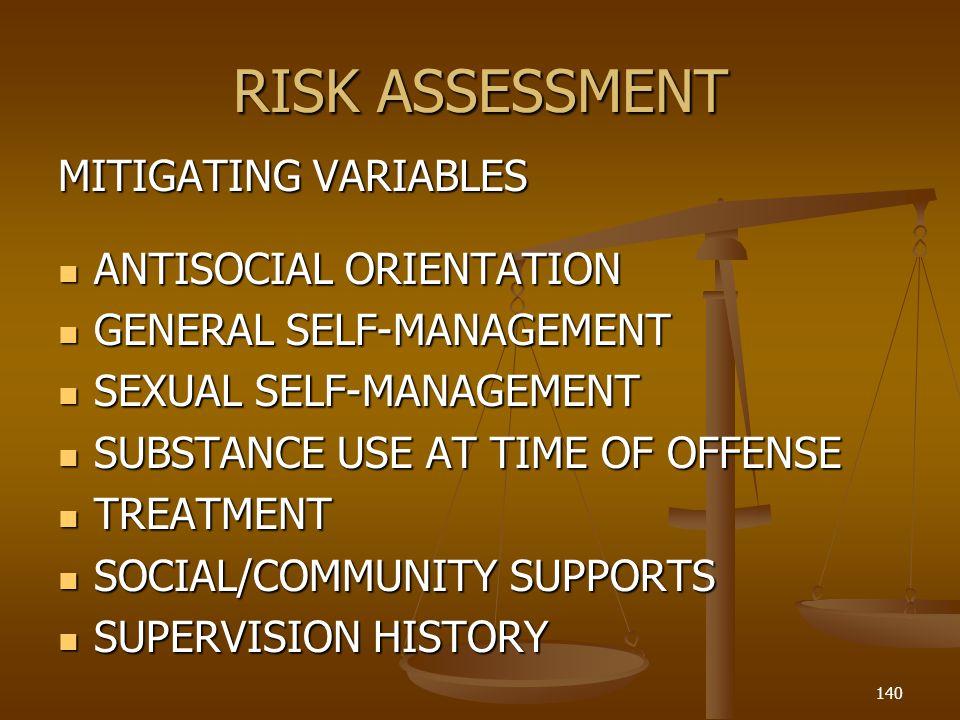 RISK ASSESSMENT MITIGATING VARIABLES ANTISOCIAL ORIENTATION ANTISOCIAL ORIENTATION GENERAL SELF-MANAGEMENT GENERAL SELF-MANAGEMENT SEXUAL SELF-MANAGEMENT SEXUAL SELF-MANAGEMENT SUBSTANCE USE AT TIME OF OFFENSE SUBSTANCE USE AT TIME OF OFFENSE TREATMENT TREATMENT SOCIAL/COMMUNITY SUPPORTS SOCIAL/COMMUNITY SUPPORTS SUPERVISION HISTORY SUPERVISION HISTORY 140