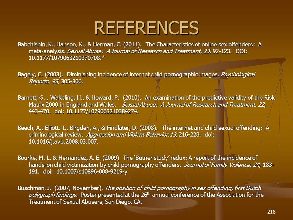 REFERENCES Babchishin, K., Hanson, K., & Herman, C.