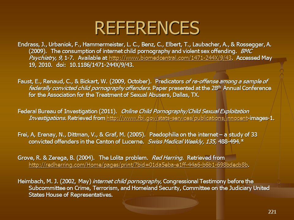 REFERENCES Endrass, J., Urbaniok, F., Hammermeister, L.