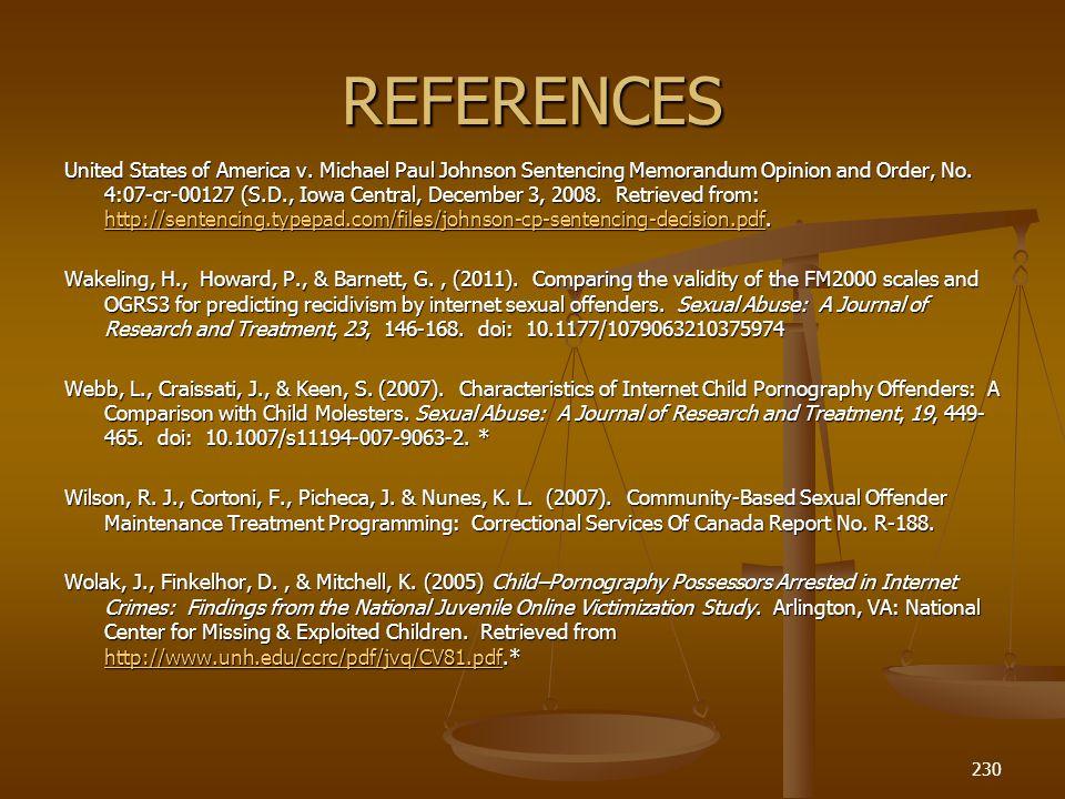 REFERENCES United States of America v.