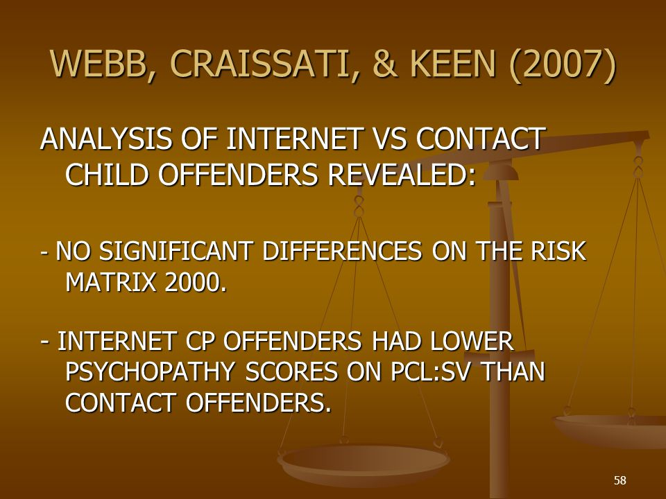 WEBB, CRAISSATI, & KEEN (2007) ANALYSIS OF INTERNET VS CONTACT CHILD OFFENDERS REVEALED: - NO SIGNIFICANT DIFFERENCES ON THE RISK MATRIX 2000.