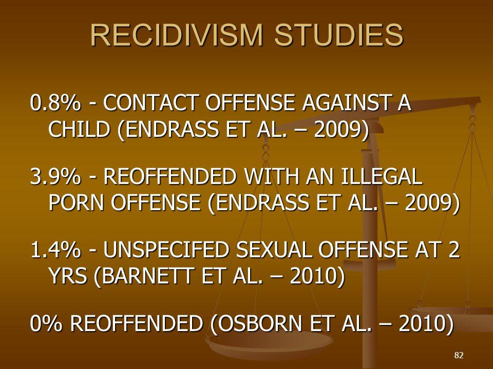 RECIDIVISM STUDIES 0.8% - CONTACT OFFENSE AGAINST A CHILD (ENDRASS ET AL.