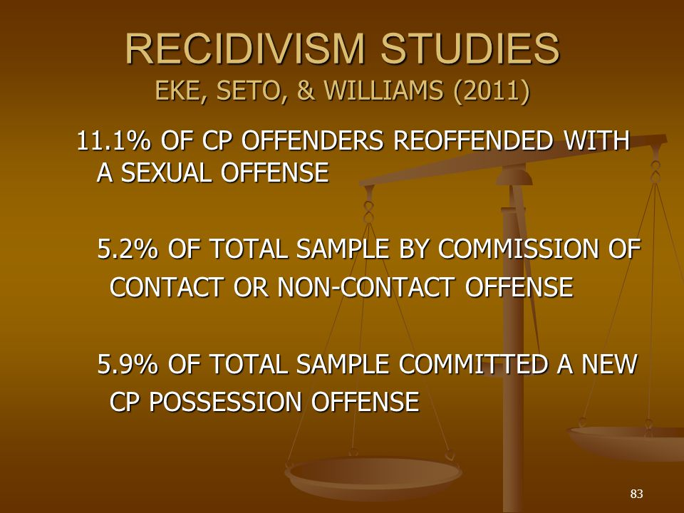 RECIDIVISM STUDIES EKE, SETO, & WILLIAMS (2011) 11.1% OF CP OFFENDERS REOFFENDED WITH A SEXUAL OFFENSE 5.2% OF TOTAL SAMPLE BY COMMISSION OF CONTACT OR NON-CONTACT OFFENSE 5.9% OF TOTAL SAMPLE COMMITTED A NEW CP POSSESSION OFFENSE 83