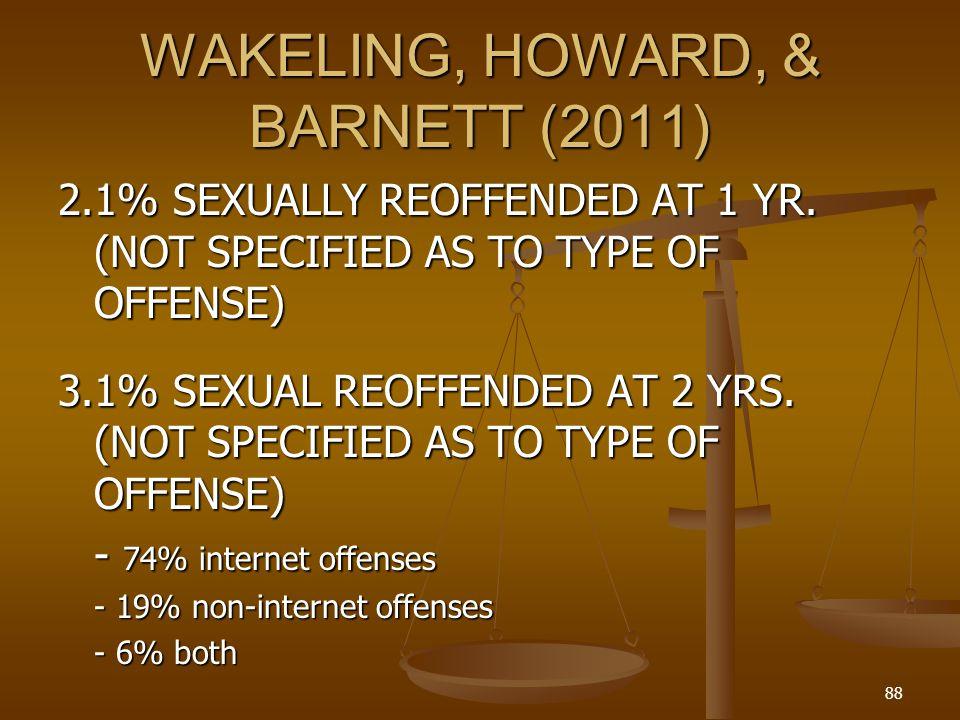 WAKELING, HOWARD, & BARNETT (2011) 2.1% SEXUALLY REOFFENDED AT 1 YR.