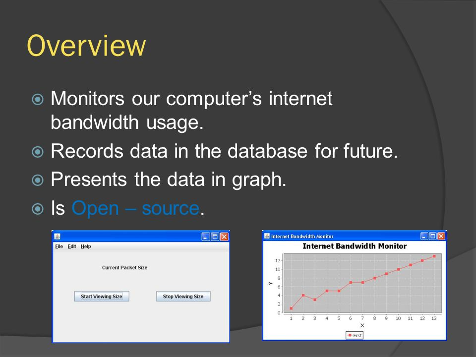 Overview Monitors our computers internet bandwidth usage.