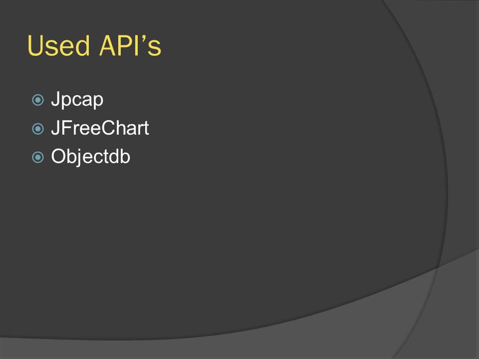 Used APIs Jpcap JFreeChart Objectdb