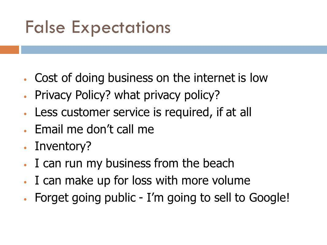 False Expectations Cost of doing business on the internet is low Privacy Policy? what privacy policy? Less customer service is required, if at all Ema